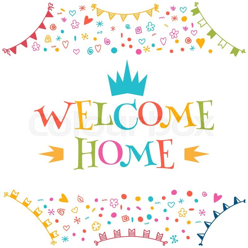 800x800 Welcome Home Text With Colorful Design Elements. Greeting Card
