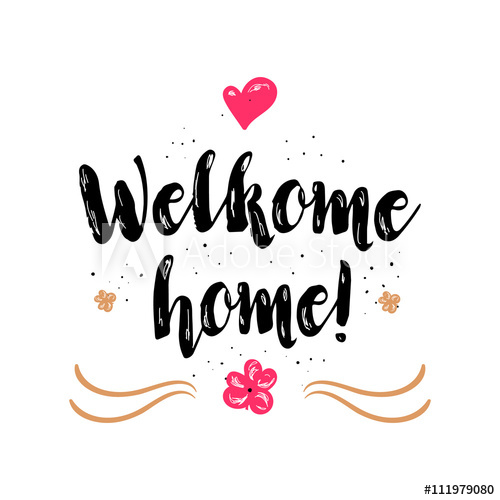 500x500 Welcome Home. Artistic Greeting Card Poster With Calligraphy Black
