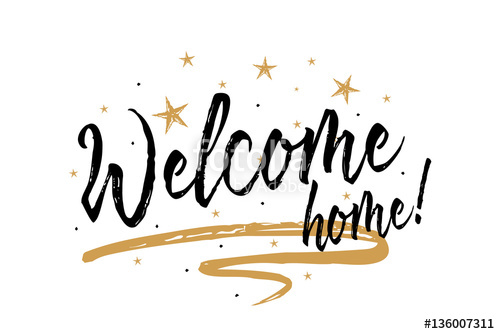 500x334 Welcome Home. Beautiful Greeting Card Scratched Calligraphy Black
