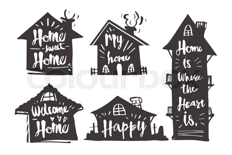 800x533 Hand Drawn Caligraphy In Silhouette House, Home Sweet Home, My