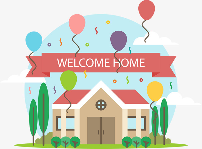 650x481 Vector Lovely Welcome Home, Color, Lovely, Childlike Png And