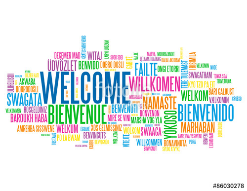 500x387 Welcome Tag Cloud Translated Into Many Languages Stock Image And