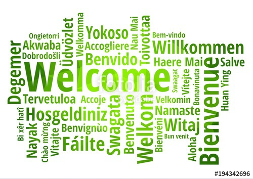 500x354 Welcome Word Cloud In Different Languages, Concept Green Low Poly