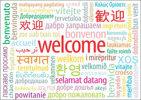 495x350 Welcome Sign In Different Languages