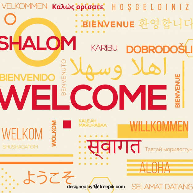 626x626 Welcome Composition Background In Different Languages Vector