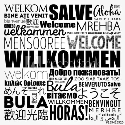 500x500 Willkommen, Welcome In German, Word Cloud In Different Languages