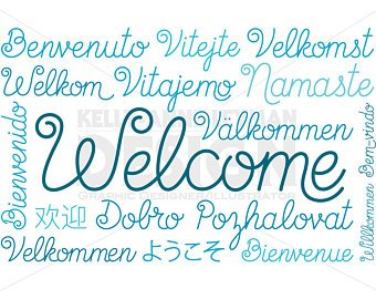 340x270 Chalkboard Welcome Sign Clipart Set Typography Clipart Etsy