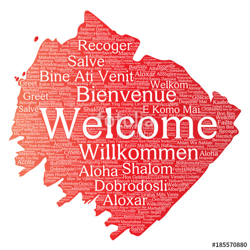 500x500 Vector Conceptual Abstract Welcome Or Greeting International Brush