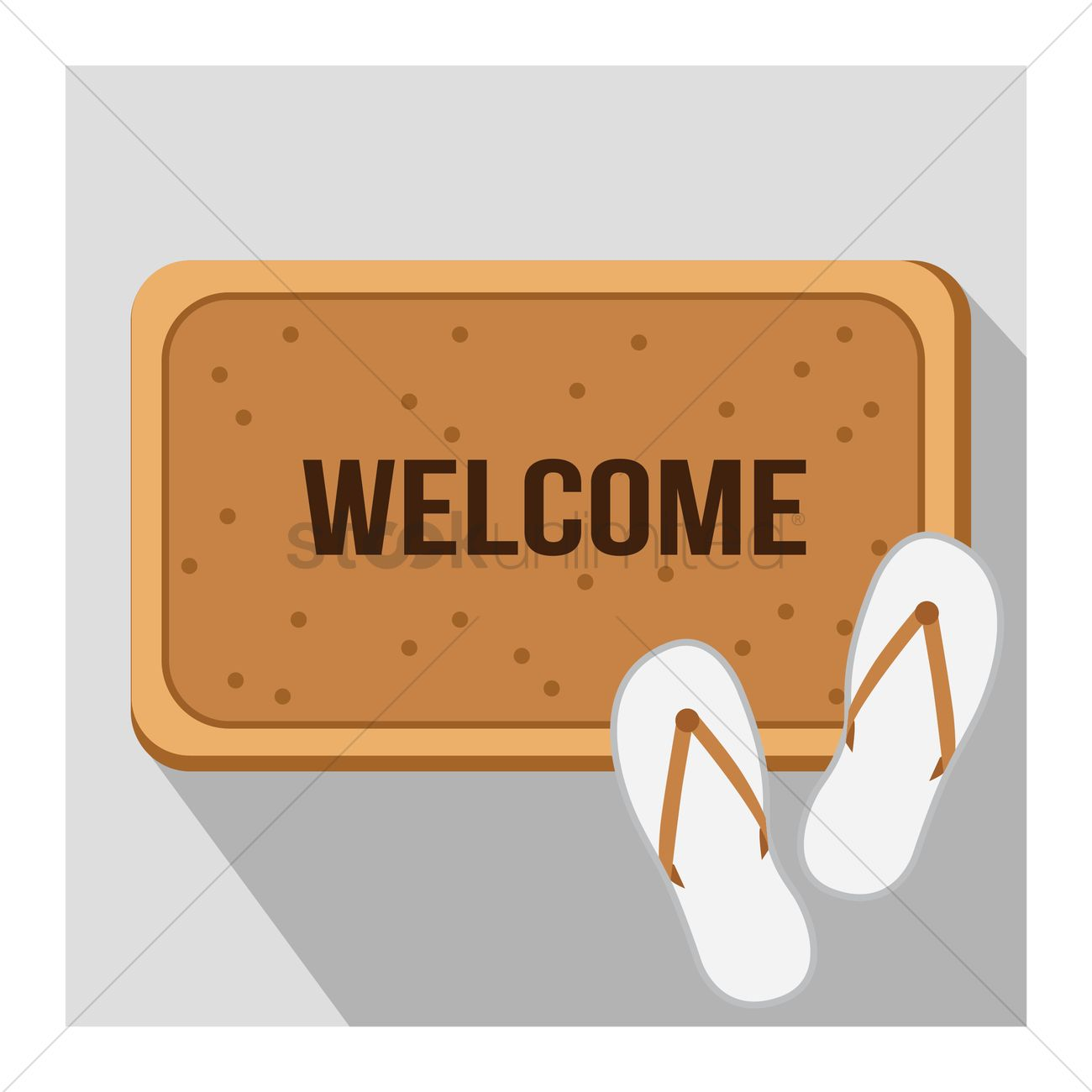 1300x1300 Free Welcome Mat With Slippers Vector Image