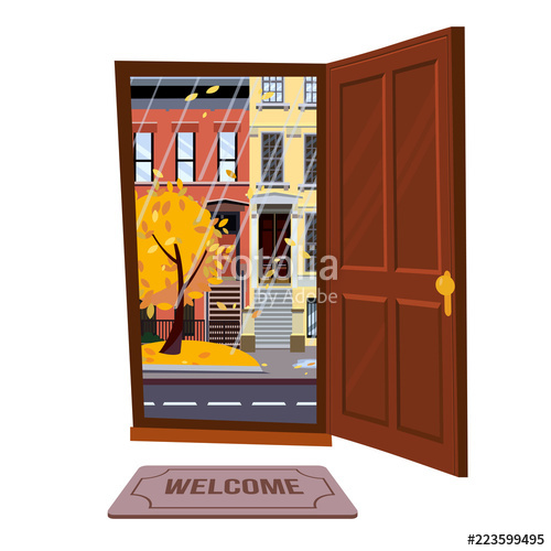 500x500 Open Door Into Autumn Rain City Evening View With Yellow Trees