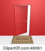 150x170 Welcome Mat Open Door Clipart