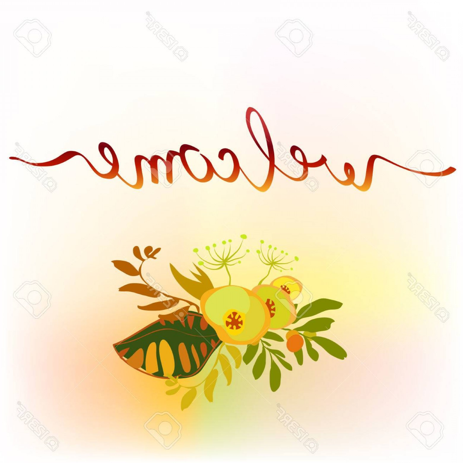 1560x1560 Photostock Vector Calligraphy Sign Welcome With Floral Bouquet