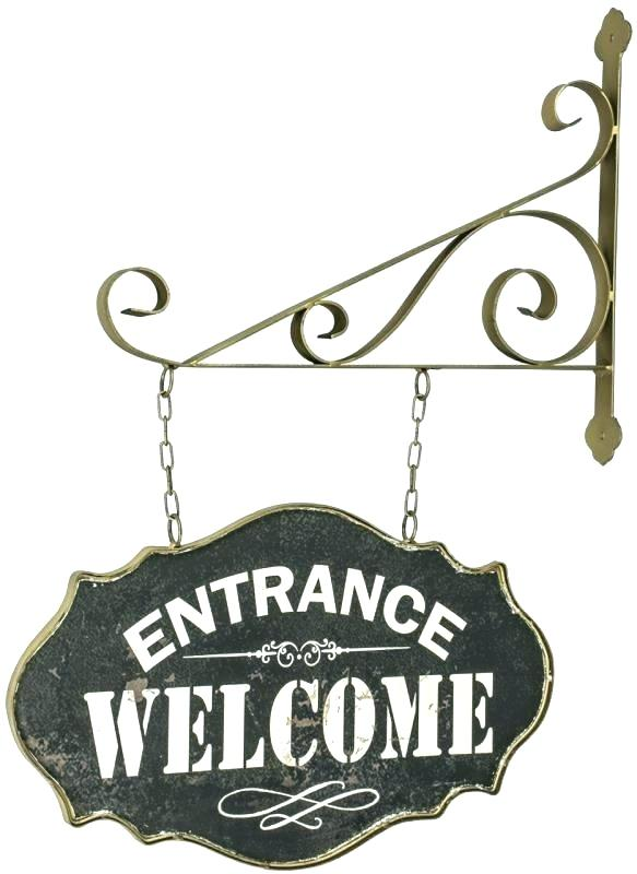 583x800 Rustic Metal Hanging Welcome Sign Board Vector Free Download