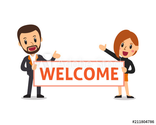 500x400 Vector Cartoon Business People Holding Welcome Sign For Design