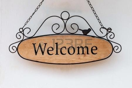 450x300 Wood Welcome Sign Hanging On Wall Of Restaurant Wooden Vector