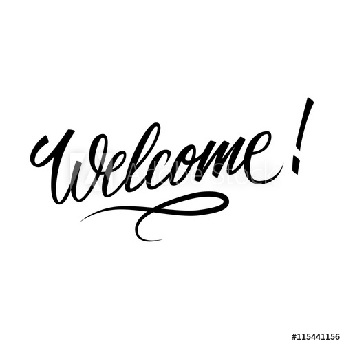 500x500 Welcome Inscription. Hand Drawn Lettering. Greeting Card With