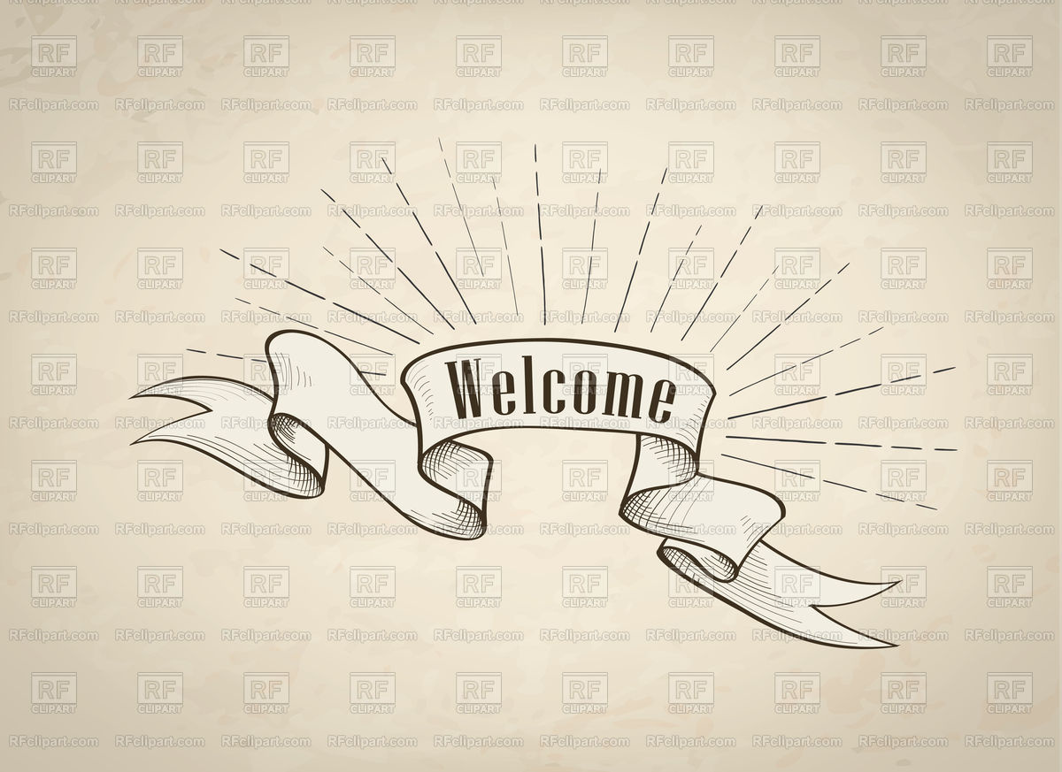 1200x873 Welcome Sign Over Ribbon, Retro Background Vector Image Vector