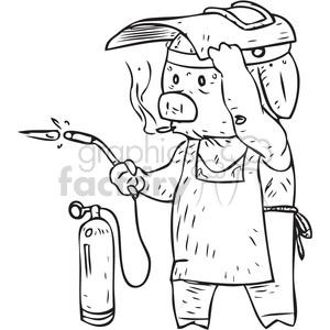 300x300 Royalty Free Pig Welder Vector Illustration 398092 Vector Clip Art
