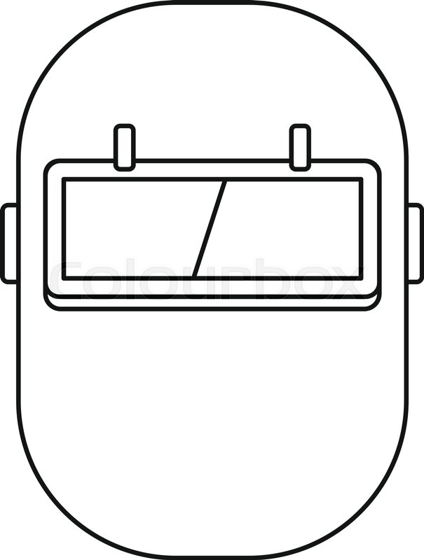 605x800 Welding Mask Icon In Outline Style Isolated Vector Illustration