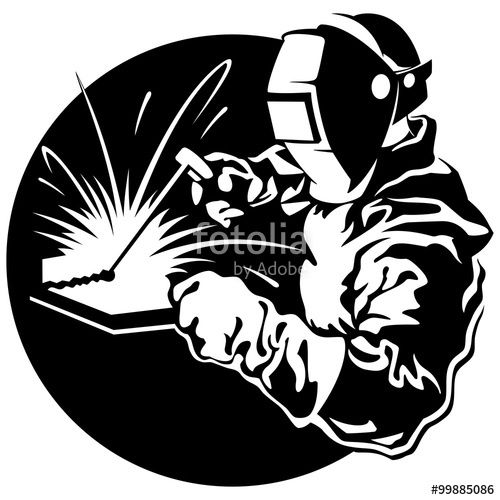 500x500 Welder Working In The Mask In The Weld Metal Sparks Vector Illus