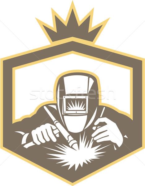 468x600 Welder Fabricator Welding Torch Shield Retro Vector Illustration