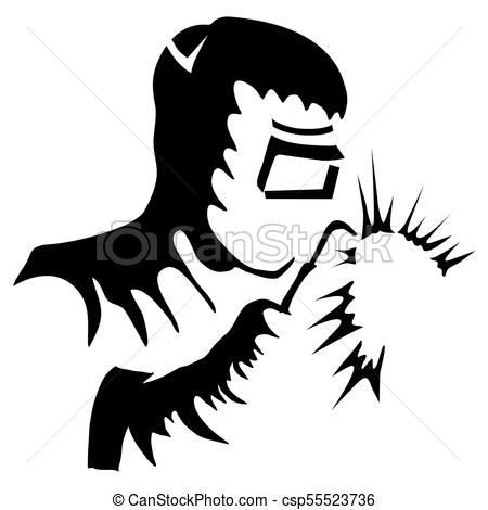 450x470 An Image Of A Welder Welding Black White Drawing Isolated On White.
