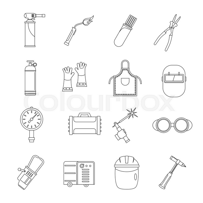 800x800 Welding Icons Set. Outline Illustration Of 16 Welding Vector Icons