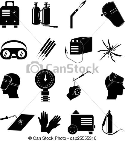 418x470 Welding Industrial Work Icons Set. Welding Industrial Work Vector