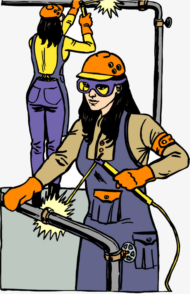 650x1007 Girl Welding Vector Figure, Girls, Welding, Vector Png Image And