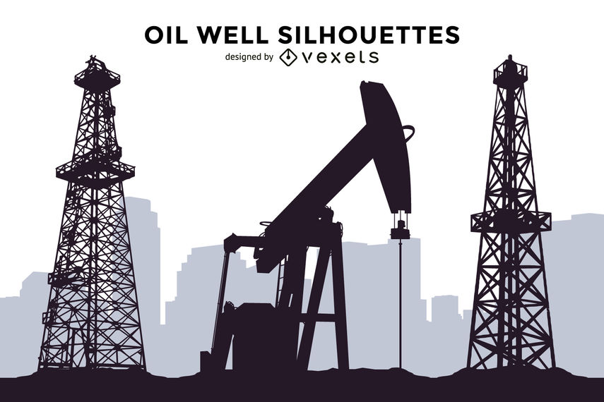 855x570 Oil Well Silhouettes Set