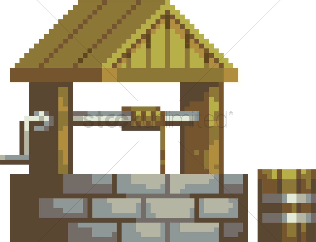 1300x997 Pixel Water Well Vector Image