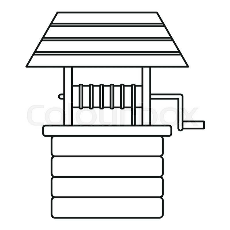 800x800 Water Well Icon. Outline Illustration Of Water Well Vector Icon