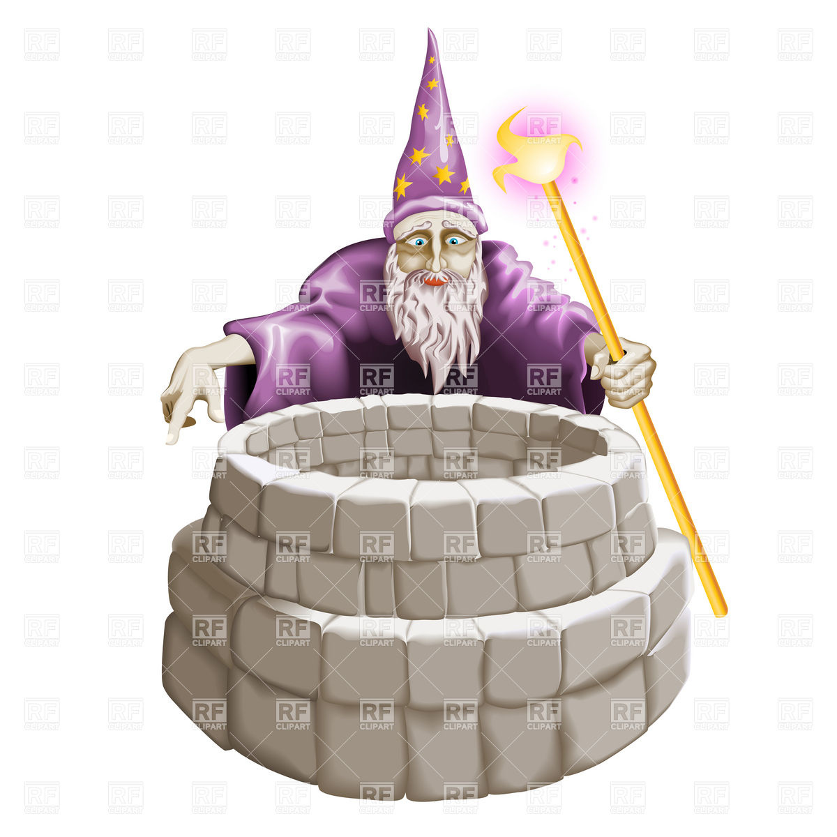 1200x1200 Wizard And The Well Vector Image Vector Artwork Of People