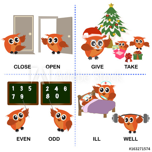 500x500 Opposite Word Text And Background For Preschool (Close Open Give