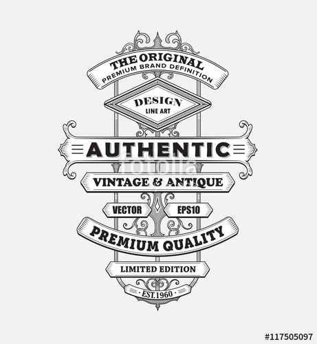 461x500 Vintage Western Antique Frame Label Typography Border Vector Ill