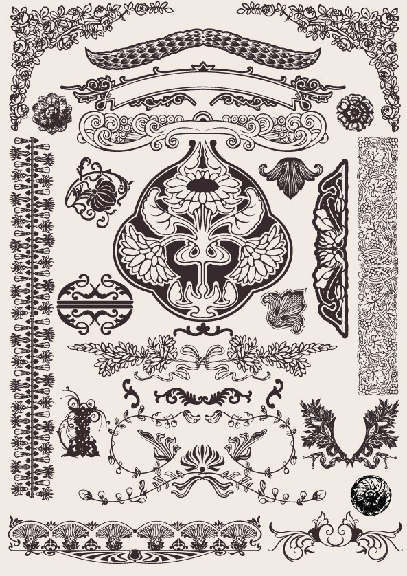593x838 Western Pattern Border Vector Background Graphics Collection
