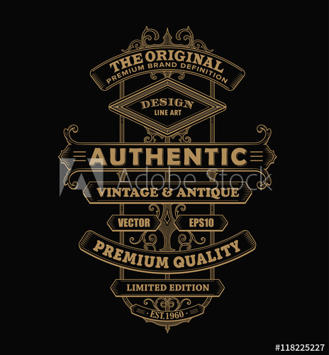464x500 Antique Frame Label Vintage Western Typography Border Vector Ill