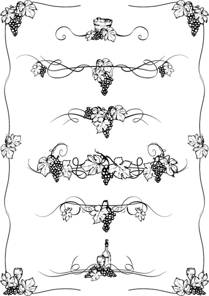 423x600 Elements Of Grapes Style Borders Vector Free Vector In