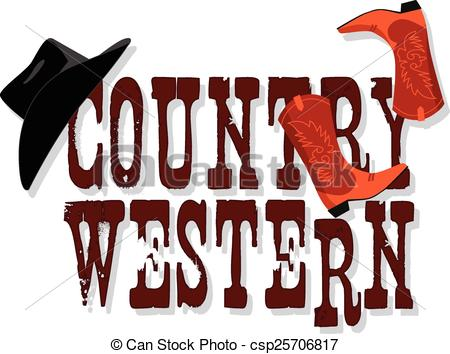 450x354 Country Western Banner With Stetson Hat And Cowboy Boots, Vector