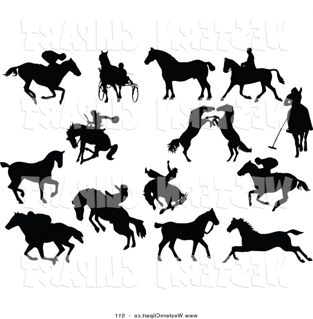 1228x1252 Vector Western Clip Art Of A Digital Collage Of Horse Silhouettes