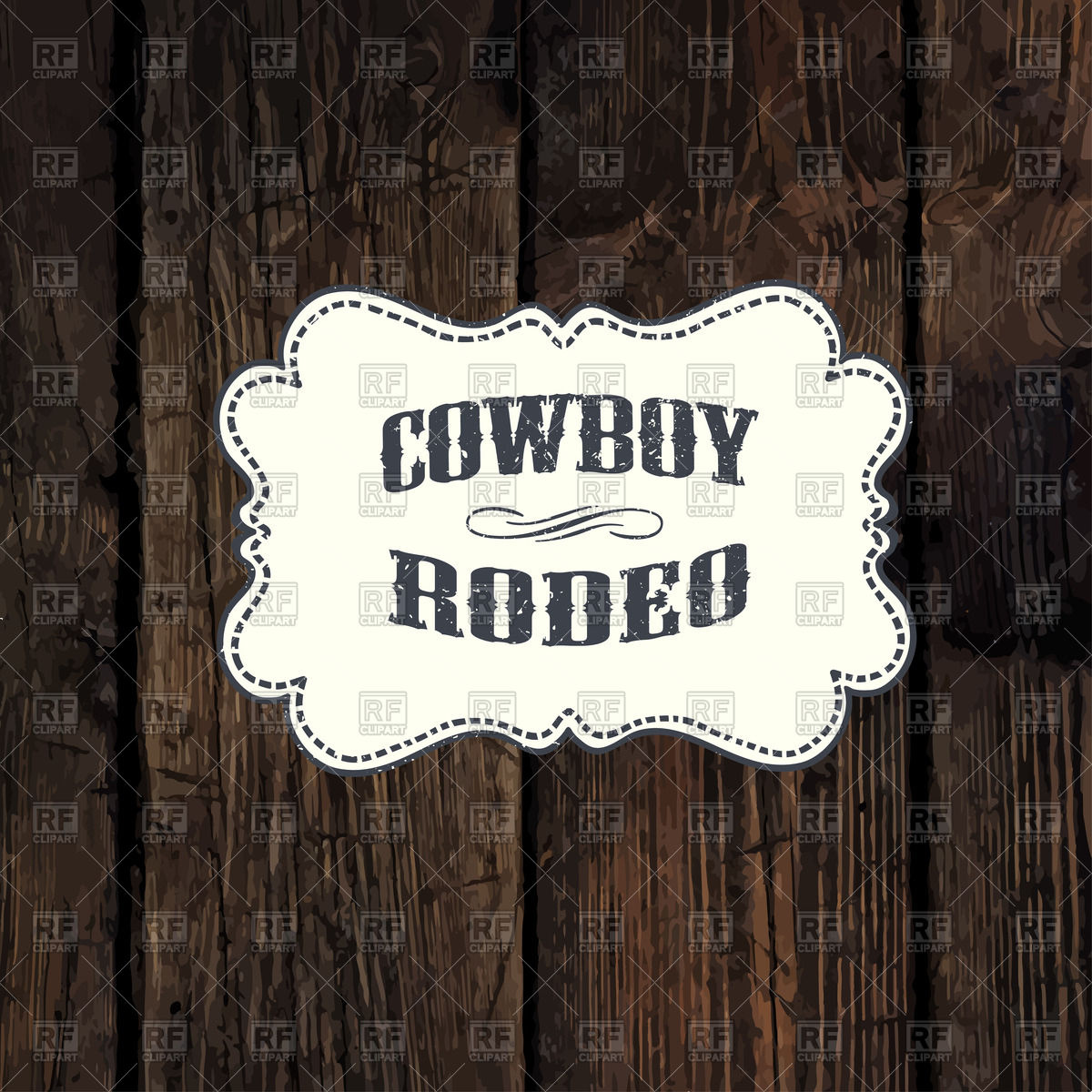 1200x1200 Western Styled Label On Aged Wooden Background Vector Image