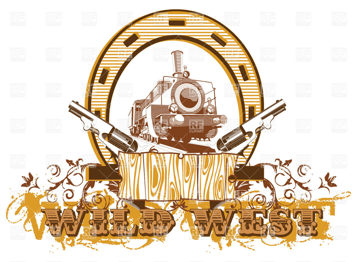 1200x882 Wild West Theme With Locomotive And Guns Vector Image Vector