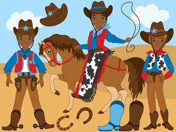 350x263 African American Cowboy Clipart
