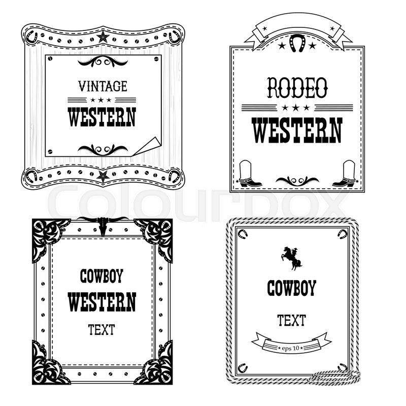 800x800 Set Of Labels And Frames In Western Style Isolated On White For