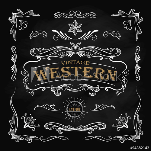 500x500 Western Hand Drawn Elements Frame Label Blackboard Vintage Banne