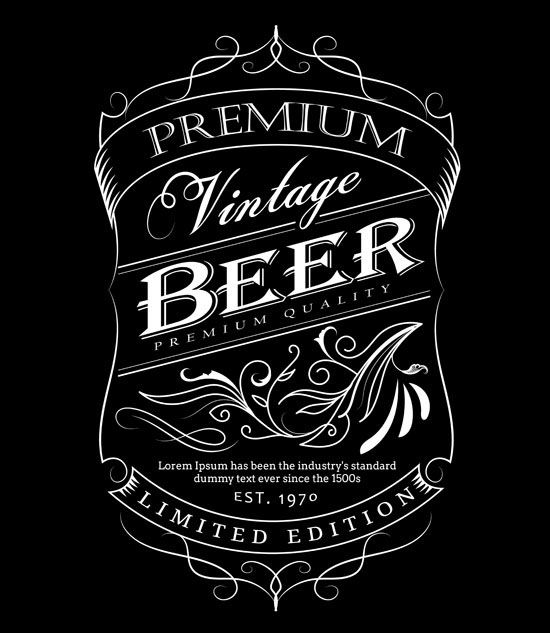 550x633 Beer Label Western Hand Drawn Frame Blackboard Typography Border