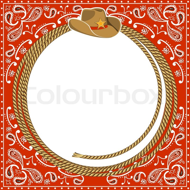 800x800 Cowboy Card Background With Rope Frame And Western Hat.vector