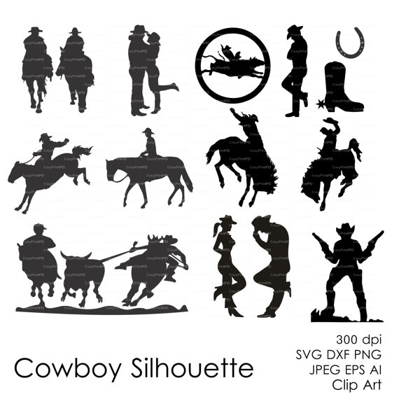 570x570 Western Vector Graphics Cowboy Western Silhouettes Clipart Eps Svg
