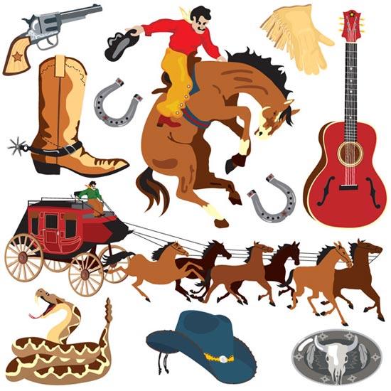 550x550 Wild West Cowboy Cartoons Vector
