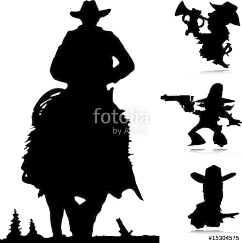 499x500 Cowboy Western Vector Silhouettes Stock Image And Royalty Free